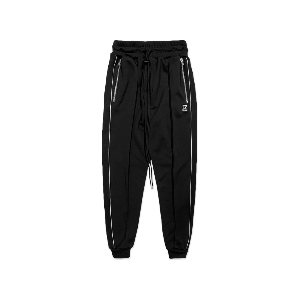 TZ WORLDWIDE REFLECT PIPING TRACK PANTS BLACK