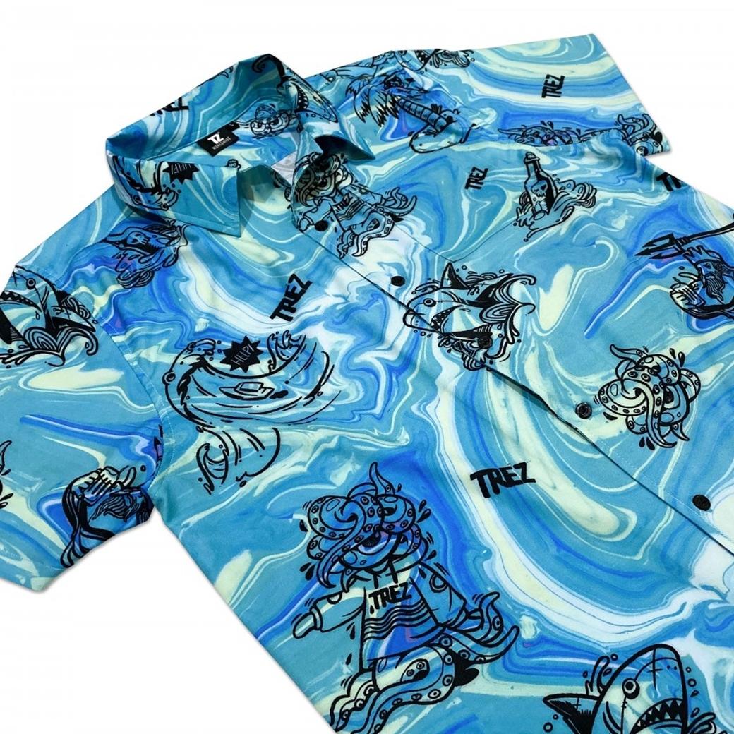 TZ WORLDWIDE SUMMER BEACH SS SHIRT BLUE