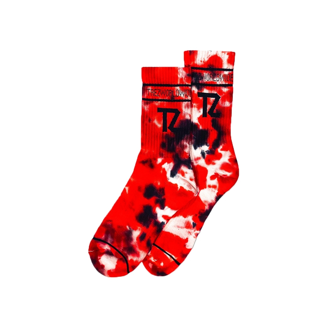 TZ WORLDWIDE TIE-TILL-DYE SOCKS RED