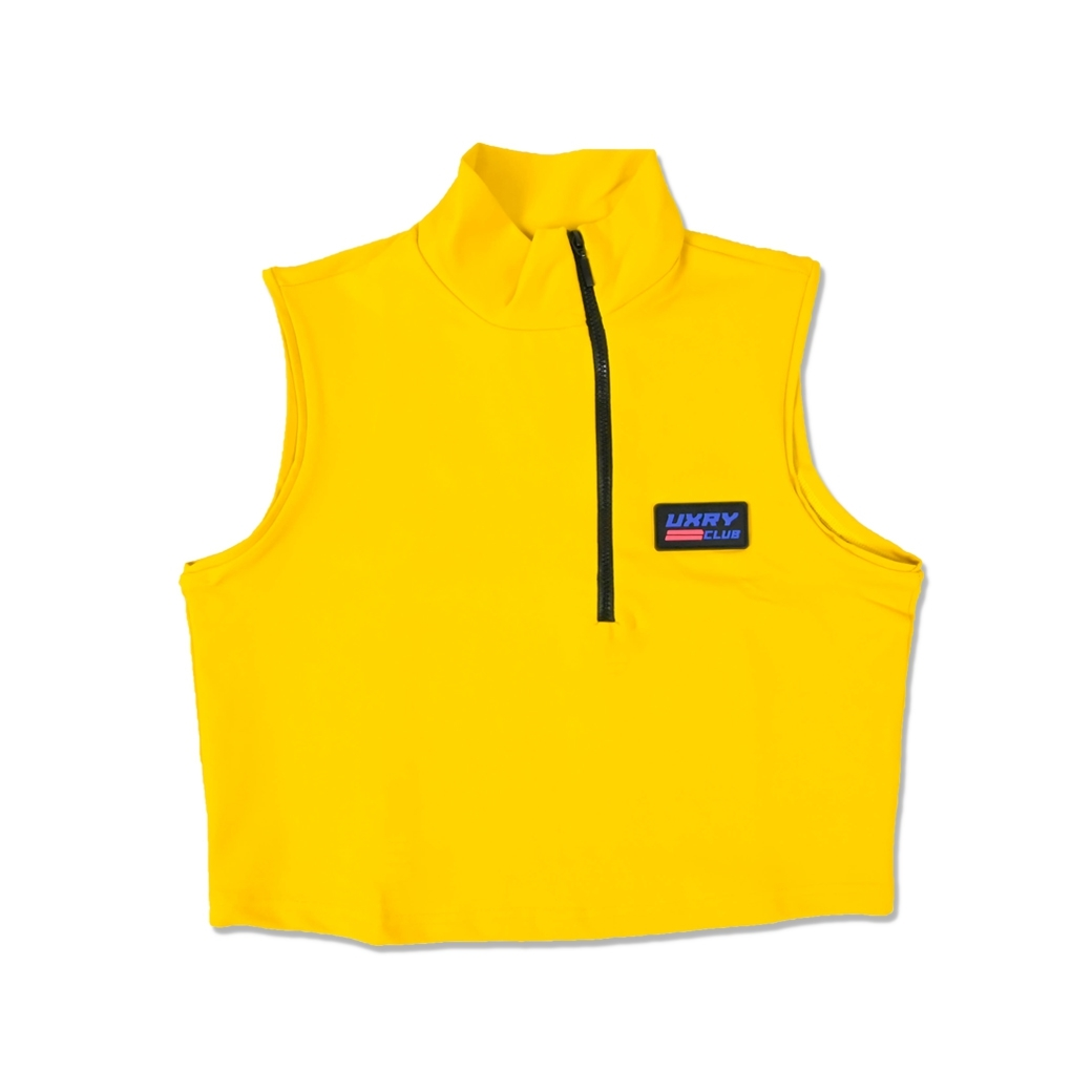 UXRY CLUB IMMA VILLAIN ACTIVE CROP TOP MUSTARD
