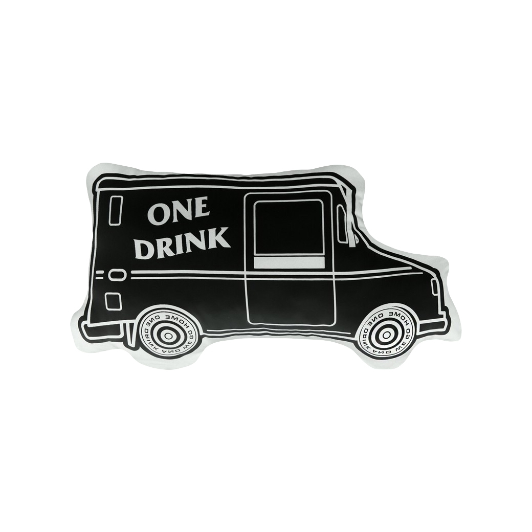 ONE DRINK AND WE GO HOME ICE CREAM VAN PILLOW BLACK
