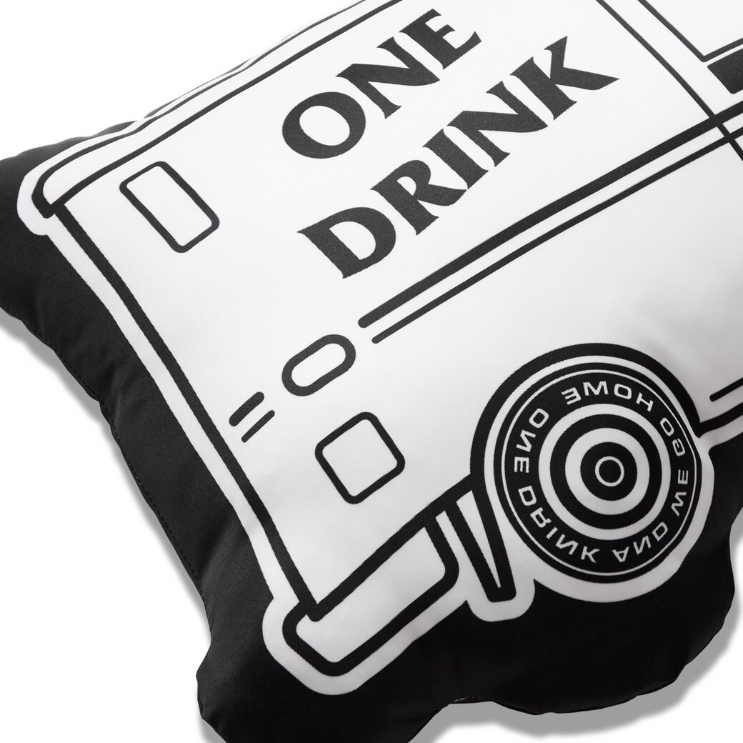 ONE DRINK AND WE GO HOME ICECREAM VAN PILLOW WHITE