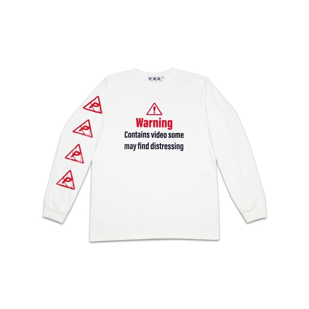 PRETTYBOYGEAR WARNING L/S TEE WHITE