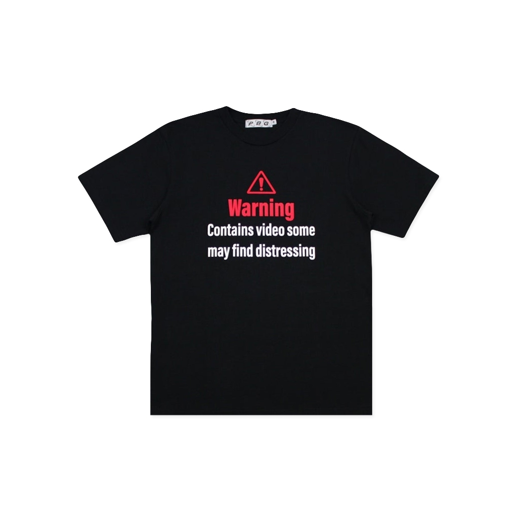 PRETTYBOYGEAR WARNING TEE BLACK