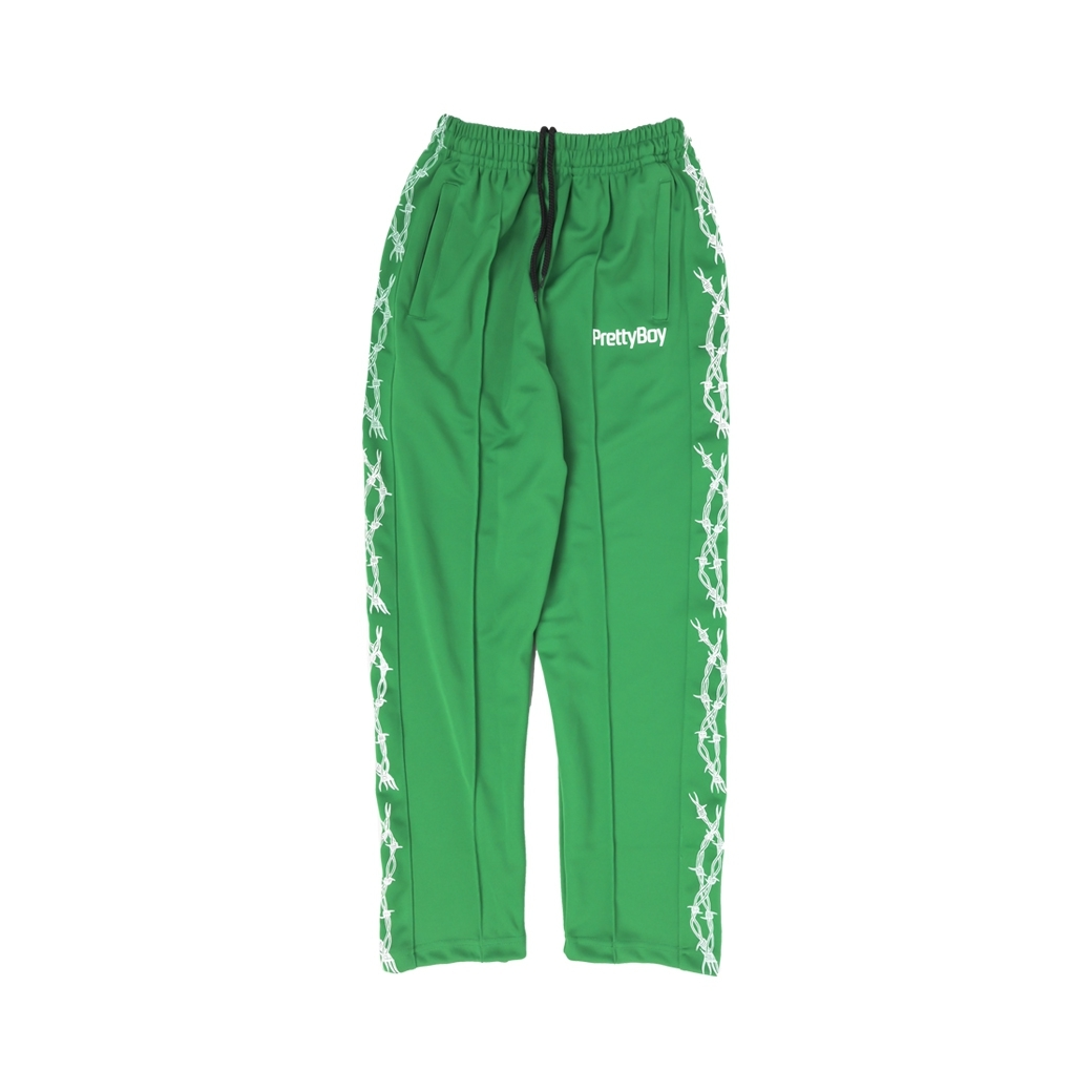 PRETTYBOYGEAR BARB WIRE TRACK PANTS GREEN