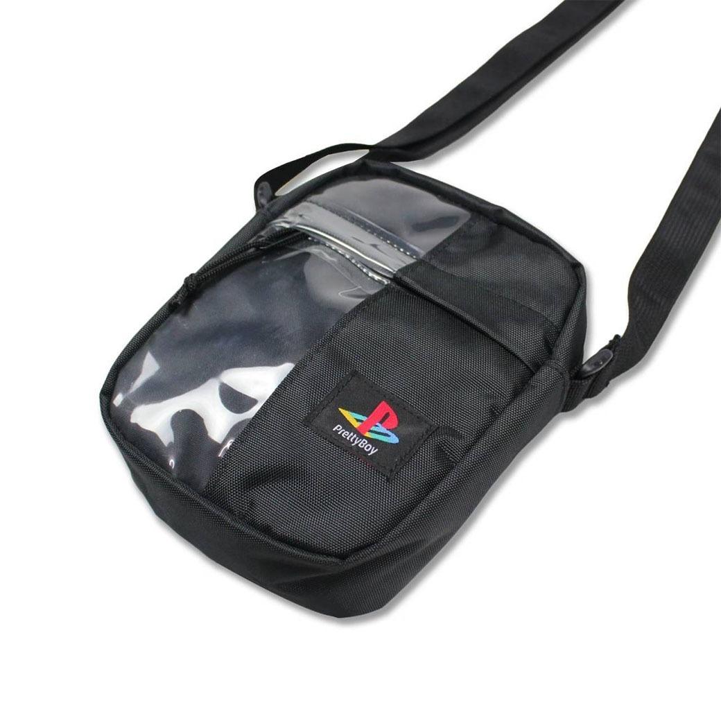 PRETTYBOYGEAR 2-FACE PVC MESSENGER BAG BLACK
